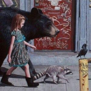 girl bear racoon crow