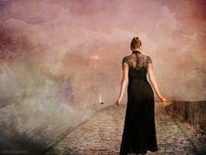 woman walking in fog
